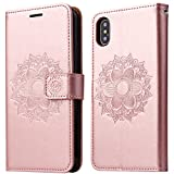 iPhone X Case, SOWOKO Book Style Leather Wallet Case Flip Folio Shockproof Protection Cover with Credit Card Slots and Kickstand for Apple iPhone X 5.8 inch (Rose Gold)