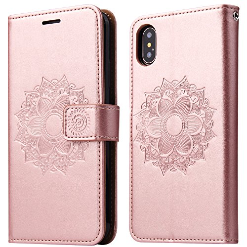 iPhone Xs Case, iPhone X Case, SOWOKO Book Style Leather Wallet Case Flip Folio Shockproof Protection Cover with Credit Card Slots and Kickstand for Apple iPhone Xs/X 5.8 inch (Rose Gold)