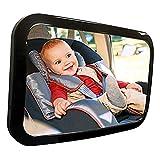 Espejo Para Bebé Auto, Espejo De Asiento, Espejo de Carro Bebé a la Vista para Seguridad en el Auto   vista Panorámica, Ajuste Perfecto, Alta Calidad, Retrovisor Fácil de Instalar   Vidrio Ajustable, Convexo y Inastillable, Espejo 360 ° Para Bebé (Negro)