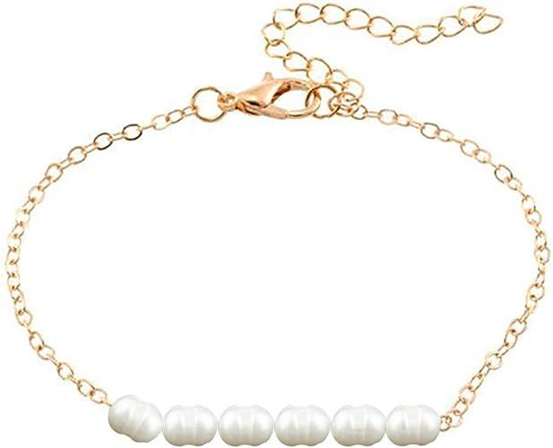 Perla De Agua Dulce Tobillera Cadena De Perlas Ajustable para Mujeres Y Niñas