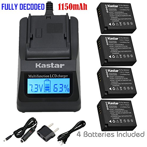 Kastar Ultra Fast Charger(3X faster) Kit and Battery (4-Pack) for Panasonic DMW-BLE9, DMW-BLE9E, DMW-BLE9PP, DMW-BLG10 work with Panasonic Lumix DMC-GF3, DMC-GF5, DMC-GF6, DMC-GX7, DMC-LX100 Cameras [Over 3x faster than a normal charger with portable USB charge function]