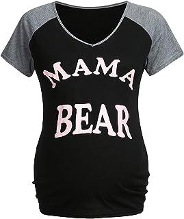 YESOT Maternity V-Neck T-Shirts Short Sleeve Comfy Letter Print Tops Pregnant Shirts