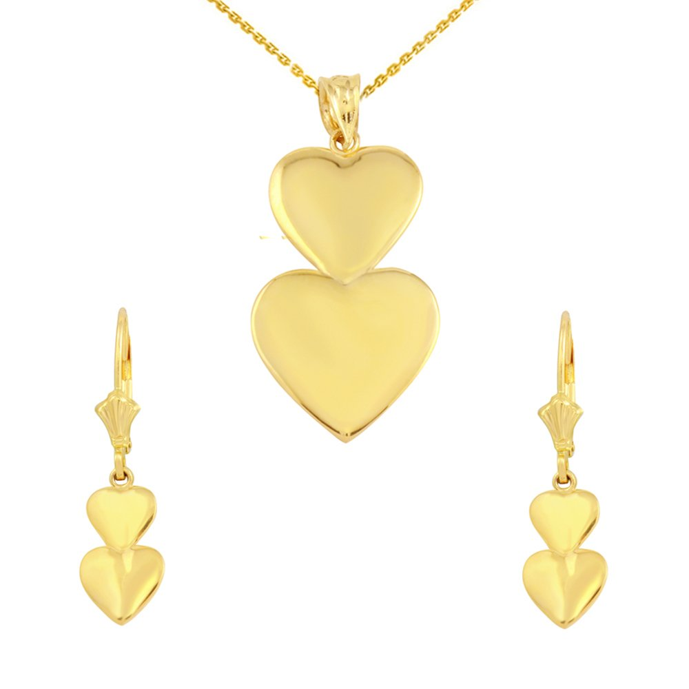 14k Yellow Gold Double Stacked Heart Love Pendant Necklace Earring Set, 22''