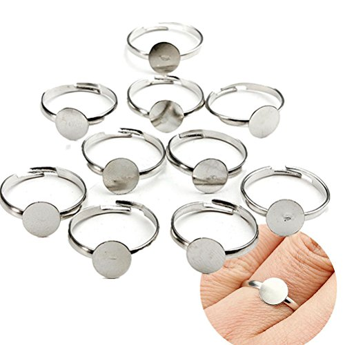 lver Plated Adjustable Flat Ring Base Blank Jewelry Findings (Adjustable Ring Base)