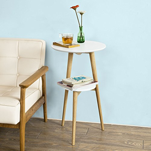 SoBuy Wooden Side Table, End Table, Tea Coffee Table, Lamp Table, console Table,, Telephone Table (FBT39-W) (Table Chair With Telephone)