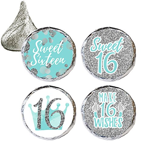 Blue and Silver 16th Birthday - Sweet Sixteen Party Favor Stickers, 324 Count