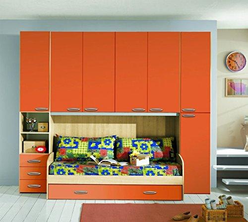 Kinderzimmer A Bridge Orange und Buche mit Doppel Bett