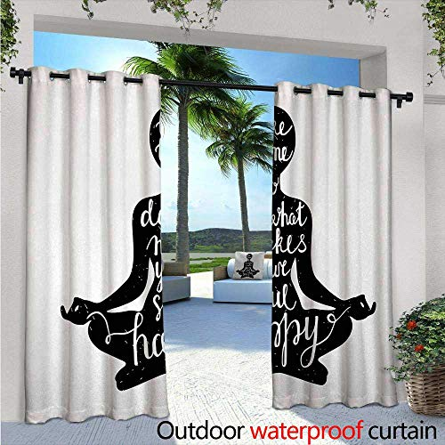 - Yoga Outdoor- Free Standing Outdoor Privacy Curtain W84 x L108 Black Silhouette with Quote About Time and Soul Inspiration Happiness Practice for Front Porch Covered Patio Gazebo Dock Beach Home Bl
