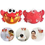 Leegoal Bath Bubble Maker, Automatic Bubble Blower Machine, Battery Operated Crab Bath Toy 12 Nursery Rhymes Baby, Toddler Kids All Ages