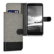 kwmobile Wallet case canvas cover for Huawei Honor 5X / GR5 - Flip case with card slot and stand in grey black