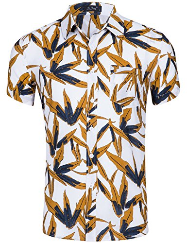 (XI PENG Men's Tropical Short Sleeve Palm Tree Jungle Beach Aloha Hawaiian Shirt (Yellow White Bamboo Leaves, Medium))