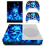 Chickwin Xbox One S Skin Vinyl Decal Full Body Cover Sticker For Microsoft Xbox One S Console and 2 Controller Skins (Blue Fire Skull)