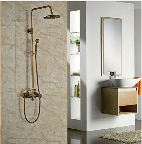 Gowe Antique Brass 8-in Rainfall Shower Set Bathroom Tub Units Single Lever Hot&Cold Faucet 0