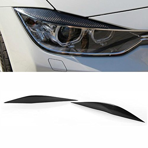 Carbon Fiber Headlight Eye Lid Cover Trims Fit for 2013-2017 BMW F30 3-Series 320i 328i 330i 340i xDrive 4DR Sedan 99_OnLine