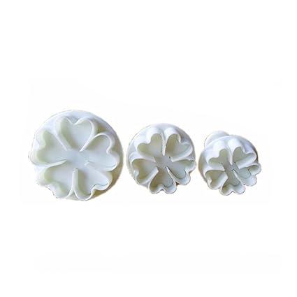 OHQ 3pcs cinco flor en forma de corazón pastel fondant cookie decoración molde de Buceador pétalos