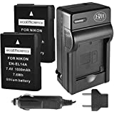 ecoEfficiency 2-Pack of EN-EL14, EN-EL14A Batteries + Battery Charger for Nikon D3100, D3200, D3300, D3400, D5100, D5200, D5300, D5500, D5600, DF, Coolpix P7000, P7100, P7700, P7800 DSLR Cameras