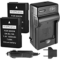 ecoEfficiency 2 Pack of Fully Decoded EN-EL14, EN-EL14A Batteries and Charger for Nikon D3400, D5600 Digital SLR Camera