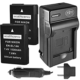 ecoEfficiency 2-Pack of EN-EL14, EN-EL14A Batteries + Battery Charger for Nikon D3500, D3100, D3200, D3300, D3400, D5100, D5200, D5300, D5500, D5600, DF, Coolpix P7000, P7100, P7700, P7800 Cameras