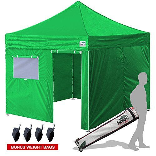 New Eurmax Basic 10×10 Ez Pop Up Canopy Outdoor Canopy Instant Tent with 4 zipper Sidewalls and Roller Bag,Bouns 4 weight bags (Kelly Green)