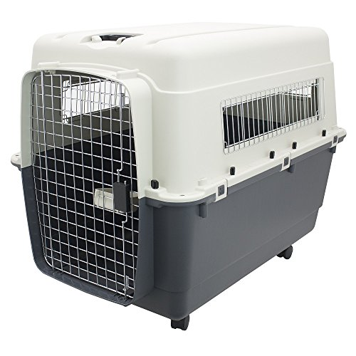 Plastic Kennels – Rolling Plastic Airline Approved Wire Door Travel Dog Crate, XX-Large by SportPet Designs