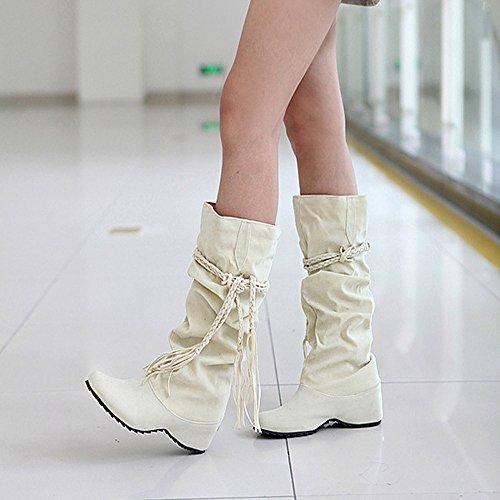 Les Semelles Compenses Confort Pour Adultes Chaussures Bottes Hiver Sunday77 Martin Franges Femmes Rehaussent Beige Plateformes Casual Dames FYfwEq5