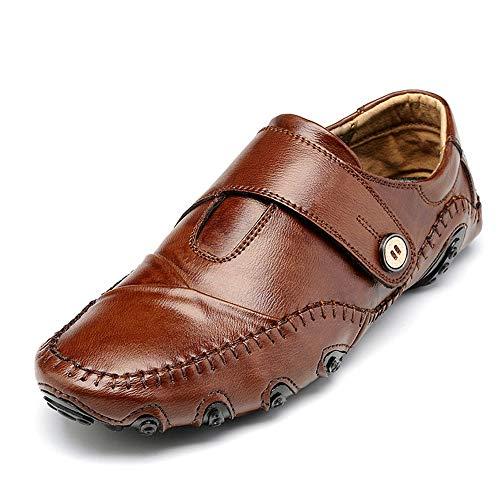 0cm Mocasín liviano Pisos Zgsjbmh 5cm de Negro marrón Zapatos Diseño y de bajo Suave 28 Cuero genuinos de de Mocasín Negocios Marrón 24 Tamaño único Corte Gommino Zapatos Gommino Confortables BnttXqx