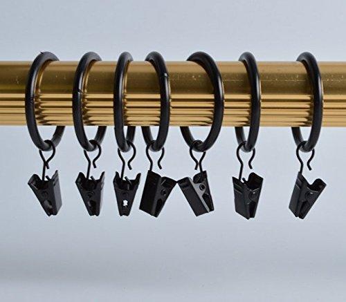 Allure Maek Premium Drapery Clip Rings - Extra Thick - Set of 48pcs - Black