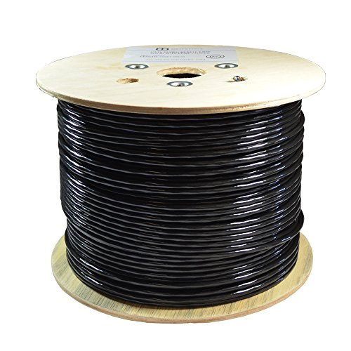 Dripstone Bare Copper 1000ft CAT6 Outdoor / Direct Burial Solid Ethernet Cable 23AWG CMX Waterproof Wire HDPE insulated Polyethylene (PE) Pass Fluke Test for Indoor / Outdoor Installations Drum Black by Dripstone