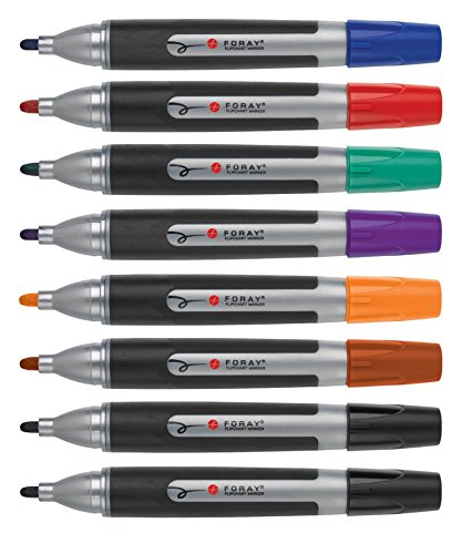 FORAY Desk-Style Overhead/Flip Chart Markers With Soft Grip, Assorted, Pack Of 8 (Flip Chart Sharpies)