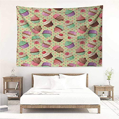 Coffee,Wall Hanging Art Tapestry Coffee Shop Bakery Inspired Tasty Cupcake Pattern on a Polka Dot Hearts Backdrop 91W x 60L Inch Tapestry, Living Room Multicolor ()