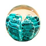 Whole House Worlds The Crystal Clear Paperweight With Emerald Green Dynamic Ringlets Handcrafted Art Glass, 3 Inch Diameter, Ball with Flat Bottom, By WHW