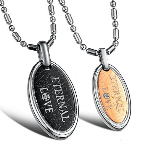 Daesar 2PCS His & Hers Matching Set Couple Stainless Steel Necklace Oval CZ