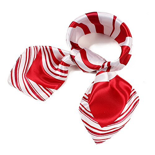 QBSM Womens Red White Large Satin Silk Formal Square Scarf Neckerchief Head Neck Tie Band (014)
