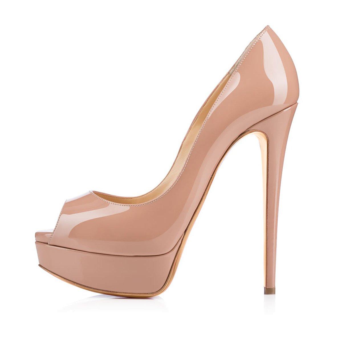 Onlymaker Damenschuhe High Heels Pumps Peep Toe Stiletto Plateau Absatz Lackleder  38 EU|Natural