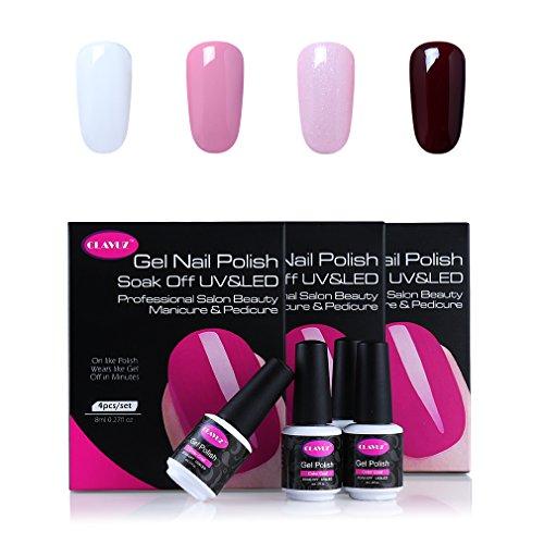 CLAVUZ UV LED Gel Nail Polish 4pcs Soak off Nail Lacquer Kit New Start Manicure Nail Art Gift Sets