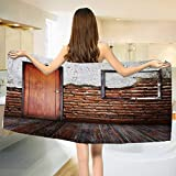 Chaneyhouse Antique,Baby Bath Towel,Picture Frame on Damaged Brick Wall Aged Old Room Rustic Wooden Floor,Print Wrap Towels,Dark Orange Brown White Size: W 10'' x L 39.5''