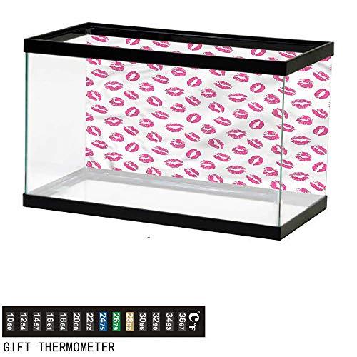 bybyhome Fish Tank Backdrop Kiss,Vibrant Colored Lipstick,Aquarium Background,24