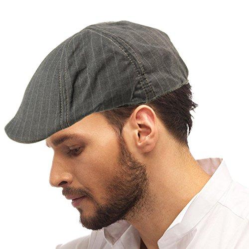 Ivy Driver - Men's Suit Striped Rayon Light DUCKBILLS IVY Driver Cabby Cap Hat S/M