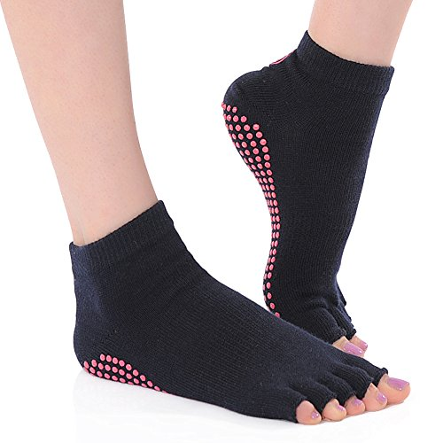 BEST Yoga Socks Toeless Non Slip Skid Sock with Grips, Cotton Sticky Feet 1/2 Toe, Stay Firmly, Practice Safely, Keep Balance and Stability, Comfortable and Breathable Yoga Sock, Perfect for Home, Studio, Travel and Pilates, for men and women, Enhance your Yoga Experience Now!