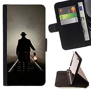 OIL LIGHT NIGHT RAILROAD LANTERN MYSTERIOUS/ Personalizada del estilo del dise???¡Ào de la PU Caso de encargo del cuero del tir????n del soporte d - Cao - For Samsung Galaxy S5 Mini, SM-G800