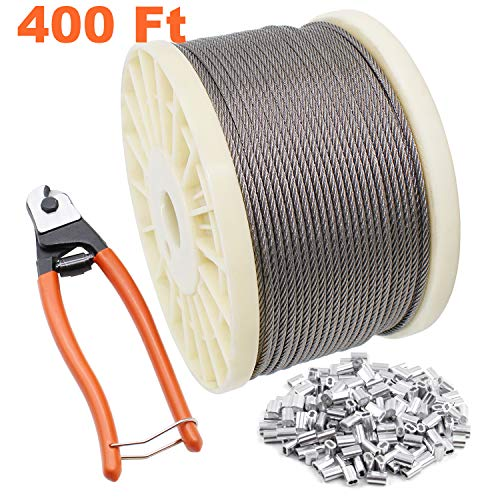 BLIKA 400FT 1/8 T316 Stainless Steel Wire Rope Cable with Cable Cutter, Aircraft Cable for Cable Railing, 7x7 Strands Construction
