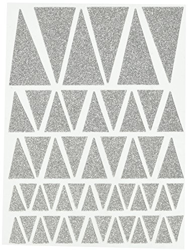 (Studio Calico 52-Piece Lemon Lush Chipboard Glitter Triangles, Silver)