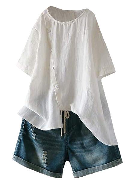 Amazon.com: Minibee Blusa de lino para mujer, túnica de ...
