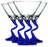 Cheap Libbey Cobalt BLue Z Shaped Stem Martini Glasses with Colored Accent – 9 oz. Set of 4- Additional Vibrant Colors Available by TableTop King