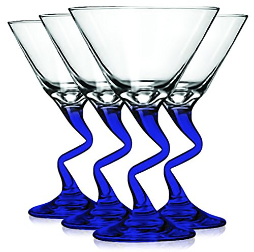 (Libbey Cobalt BLue Z Shaped Stem Martini Glasses with Colored Accent - 9 oz. Set of 4- Additional Vibrant Colors Available by TableTop King)