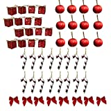 BANBERRY DESIGNS Mini Christmas Ornaments - Pack of 42 Red and Gold Miniature Ornament Set - Candy Canes - Red Bows