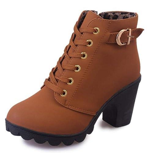Botines De Mujer Martin Botines De Estilo BritáNico Zapatos De TacóN Alto Tela De AlgodóN con Cordones Damas De PezuñAs De Montar Montar Botines Ecuestres: ...