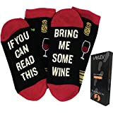 If You Can Read This Bring Me Wine - Funny Unisex Funky Colorful and Comfy Knit Novelty Socks for Women and Men - By Lavley