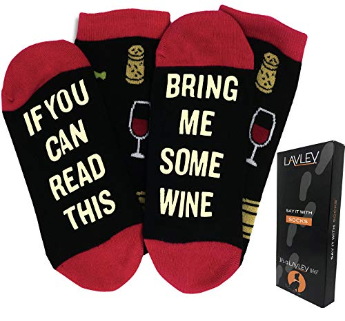 If You Can Read This Bring Me Wine - Funny Unisex Funky Colorful and Comfy Knit Novelty Socks for Women and Men - By Lavley ()