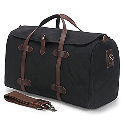 Duffle Bag, BuyAgain Waxed Canvas Travel Tote Bag Leather Trim Weekend Bag durable modeling